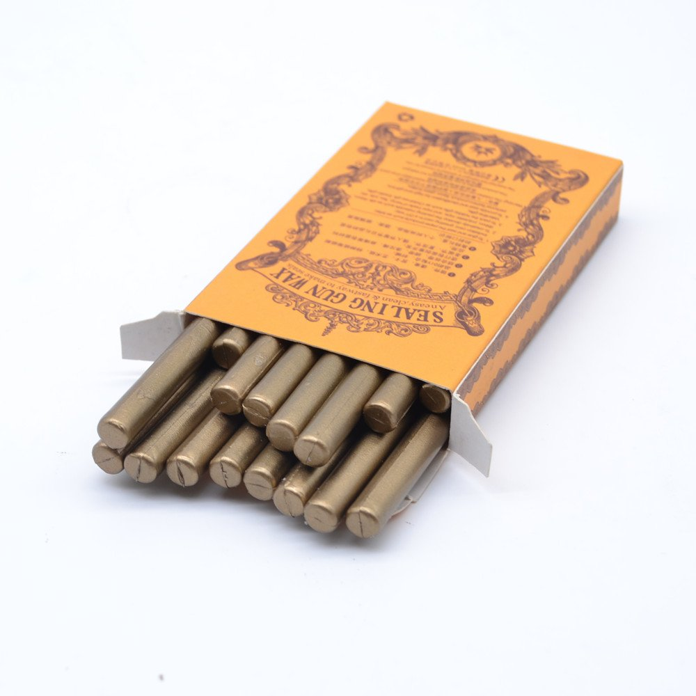 Classic Antique Copper Sealing Wax Stick in Box Vintage Bronze Wax Seal Stick for DIY Wedding Invitation Decoration - 16 Pcs