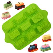 KeepingcooX 9 Cups Train Mini Cupcake Liners For Kids, Non-stick Silicone, Ice Cube Mold, Jelly, Candy, Perfect Mould for Cake Dessert Decorating, Extra Thick, Random Color