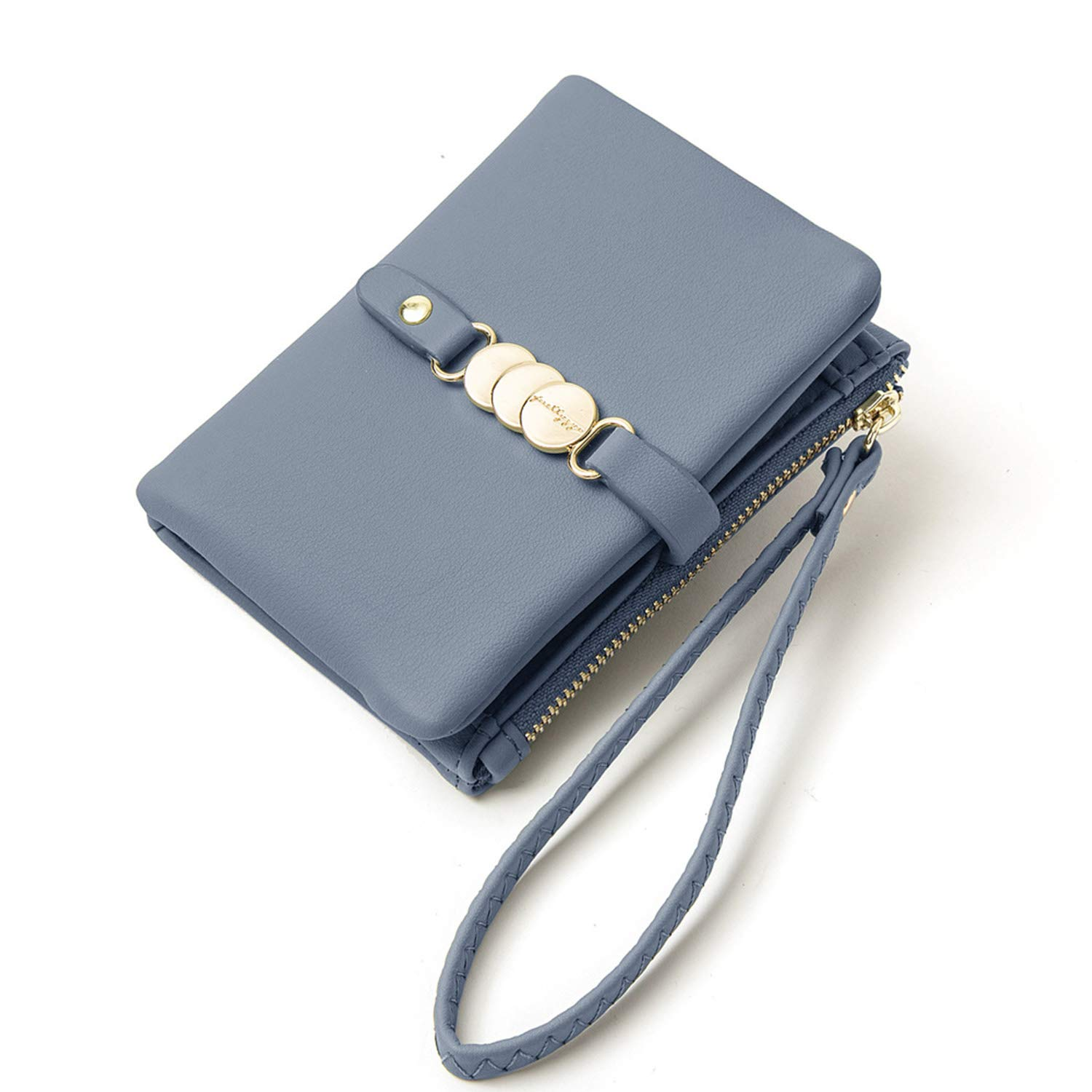 AOXONEL Womens Wallets Small Rfid Bifold Wristlet,Ladies Wallets for Card Coin,Change Purse with Wrist Strap