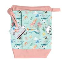 Lil Helper Dry/Wet Bag for Diapers - Waterproof & Secure (Narwhals)