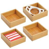mDesign Bamboo Kitchen Cabinet Drawer Organizer Tray Bin - Eco-Friendly, Multipurpose - Use in Drawers, on Countertops, Shelves or in Pantry - 7 Inch Square - 4 Pack - Natural Wood Finish