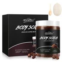 Coffee Exfoliating Booty Body Scrub with Natural Organic Brown Sugar and Coconut oil - 10.6oz Premium Exfoliating Body Scrubs with loofah body scrubber for Women/Men Exfoliation Cellulite Stretch Mark