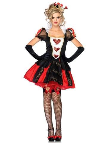 Women's Wonderland Queen of Hearts Halloween Costume Fancy bar Queen Vampire Cosplay Dress Red
