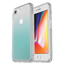 OtterBox SYMMETRY CLEAR SERIES Case for iPhone SE (2nd gen - 2020) and iPhone 8/7 (NOT PLUS) - Retail Packaging - ALOHA OMBRE (SILVER FLAKE/CLEAR/ALOHA OMBRE)