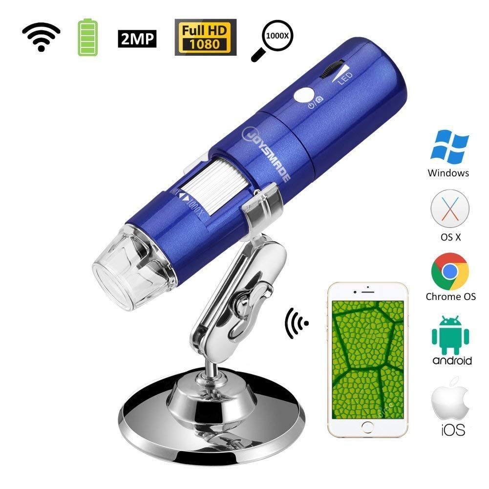 JOYSMADE Wireless Wifi USB Digital Microscope Portable with 2MP,1080P HD,1000x Magnification and Mini Pocket Rechargeable Kids Microscope for iPhone/iPad/Android phone/Windows/Mac