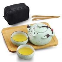 Syiswei Handmake Chinese Traditional Kungfu Portable Ceramic Tea Set Vintage Style for Travel Chinese New Year Gift with Teapot Teacups Teatray and Travel Bag-Mint Green