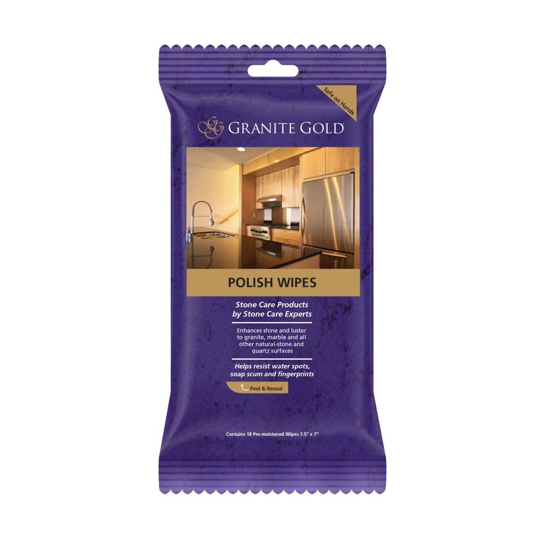 Granite Gold Maintain Shine, Luster and Resist Water Spots, Soap Scum and Fingerprints on Granite, Marble, Quartz, Natural Stone Surfaces - Made in The USA, 18 ct GG0059 Polish Wipes, Wipes-18 Count