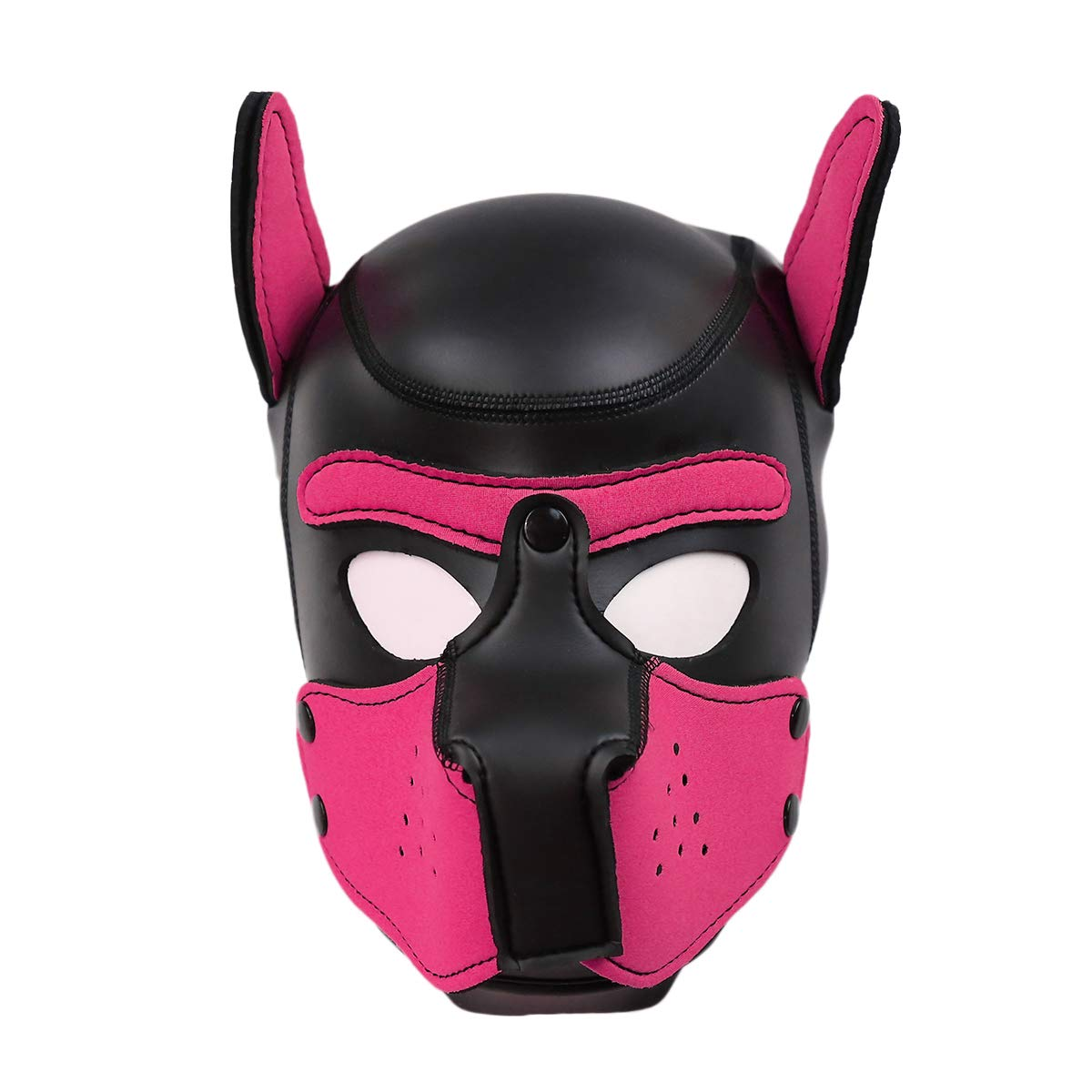 XuSha Neoprene Puppy Mask Dog Hood Pet Hat Removable Mouth Cosplay Party Props Costume Dog Head Mask Puppy Mask Halloween Medium Pink