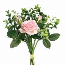 KIRIFLY Artificial Flowers Silk Roses Fake Plants Eucalyptus Leaves Berries Flower Arrangements Wedding Bouquets Decorations Floral Table Centerpieces Plastic Indoor Faux Plants Décor(Pink)