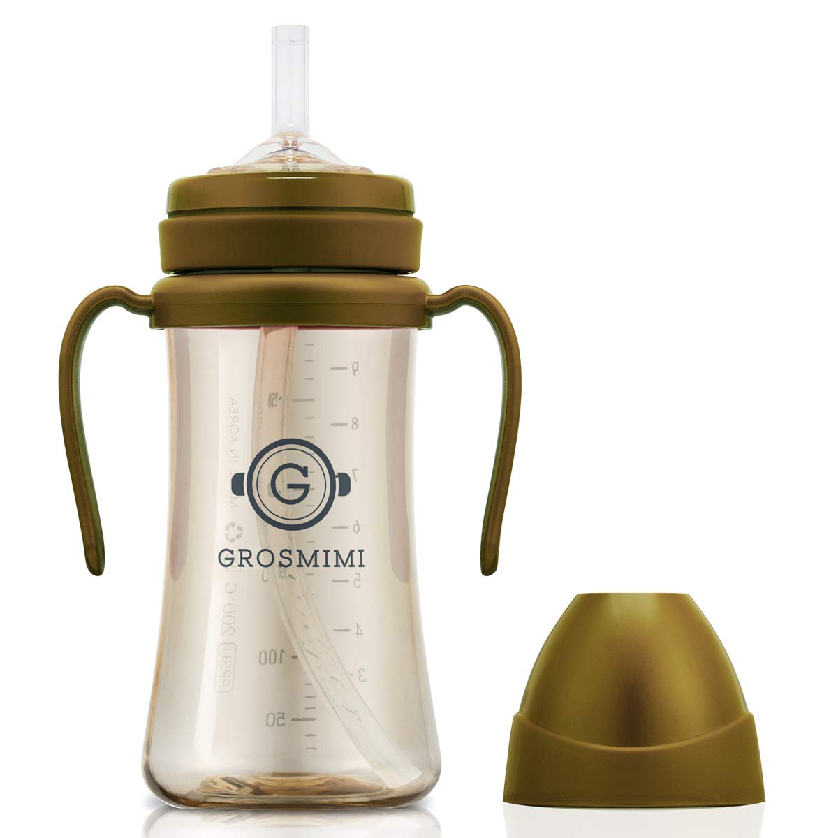 Grosmimi Spill Proof no Spill Magic Sippy Cup with Straw with Handle for Baby and Toddlers, Customizable, PPSU, BPA Free 10 oz (Golden Brown)