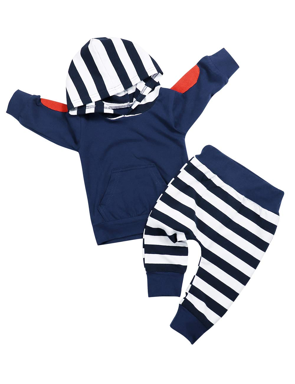 Toddler Infant Baby Boys Girls Clothes Long Sleeve Hoodie Sweatshirt Top + Striped Pants Outfits Set