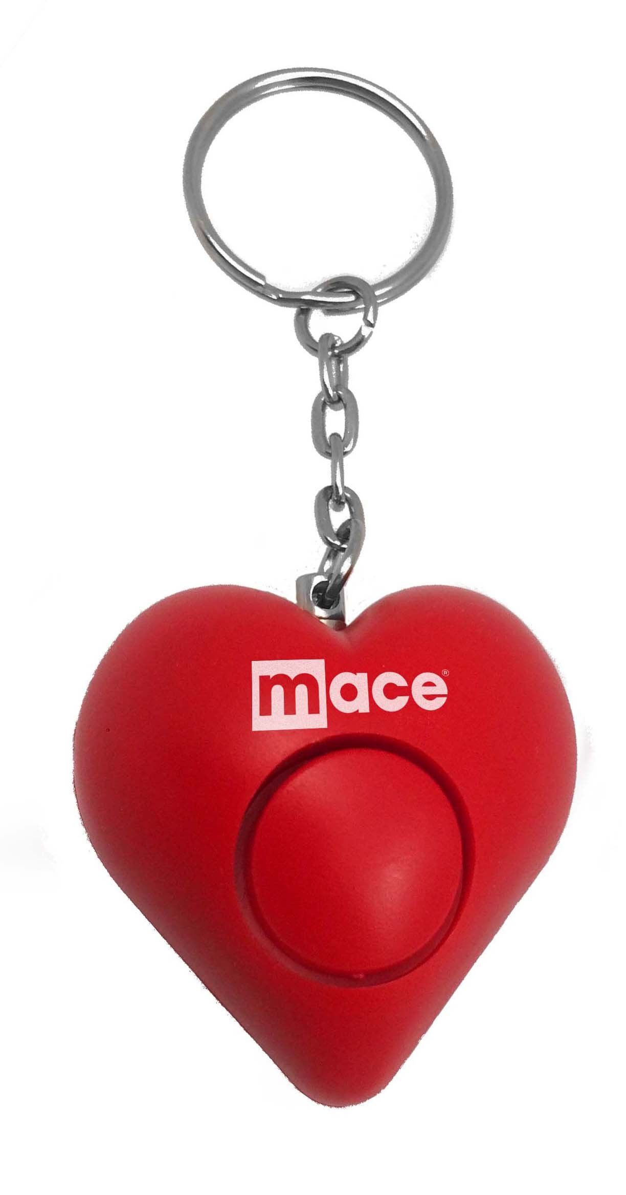Mace Brand Personal Alarm Heart on Key Ring, Pull Pin Activation, and Test Button (Red)