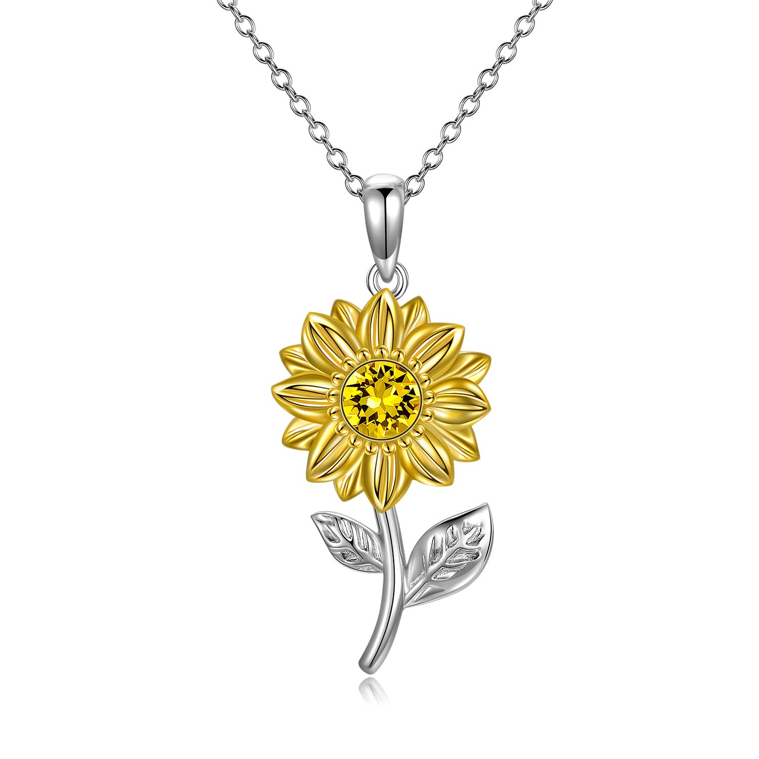 """SISGEM Solid 14K Gold Sunflower Necklace for Mom, You are My Sunshine Gold Sunflower Pendant Necklace with Crystal, Fine Loving Jewelry Gifts for Women, Mom, Wife on Birthday, Mother's Day 16""""+2"""""""