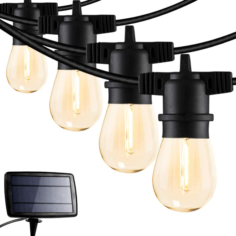 FMART 24FT Solar String Lights, LED Solar Cafe Patio Lights, Porch Market Light Waterproof & Shatterproof with Vintage Plastic Bulbs, Create Cafe Ambience On Your Garden