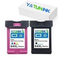 YATUNINK Remanufactured Ink Cartridge Replacement For HP 64XL Black 64XL Tri-color Ink Cartridge For HP Envy Photo 6252 Envy 6255 Envy 6258 Envy 7155 7158 7164 7855 7858 7864 Envy 5542 Printer(2 Pack)