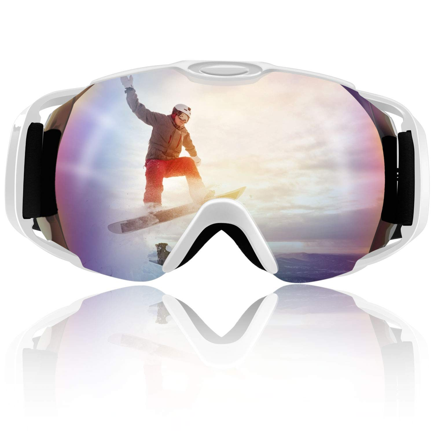 Venoro Ski Goggles, Snowboard Goggles Protection with Adjustable Strap for Men, Women and Youths