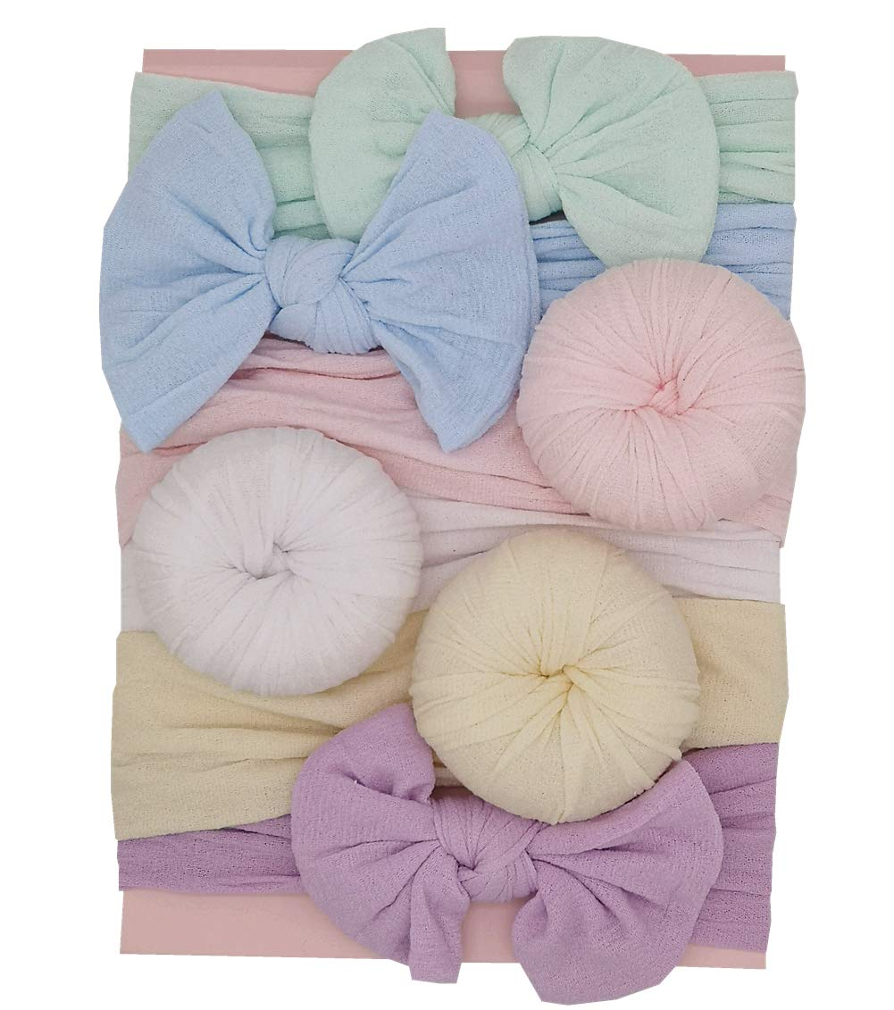 Baby Girls Bows Newborn Turban Headbands Knot Nylon Wide Headwraps for Infant Toddler Hair Accessories