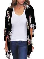 Century Star Women's Floral Kimono Cardigan Casual Loose Open Front Beach Cover Up Blouses Tops