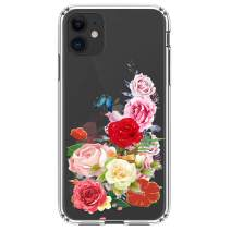 """HUIYCUU Compatible with iPhone 11 Case 6.1"""", Shockproof Anti-Slip Cute Glitter Clear Design Crystal Pattern Funny Slim Fit Soft Bumper Girl Women Cover Case for iPhone 11 XI, Rose Flower Leaf"""