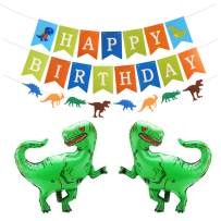 CCINEE Dinosaur Themed Birthday Party Decoration Kits Inflatable Dinosaur and Dino Birthday Colorful Felt Banner, Jungle Jurassic Dinosaur Paper Garland for Kids Birthday Party Favors