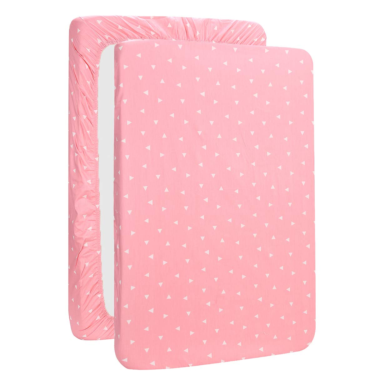 UOMNY Mini Crib Sheets Pink Triangle Pack n Play Playard Sheet Fitted Playard Mattress Sheet,100% Natural Cotton Mini Portable Crib Sheets for Boys and Girls 1 Pack