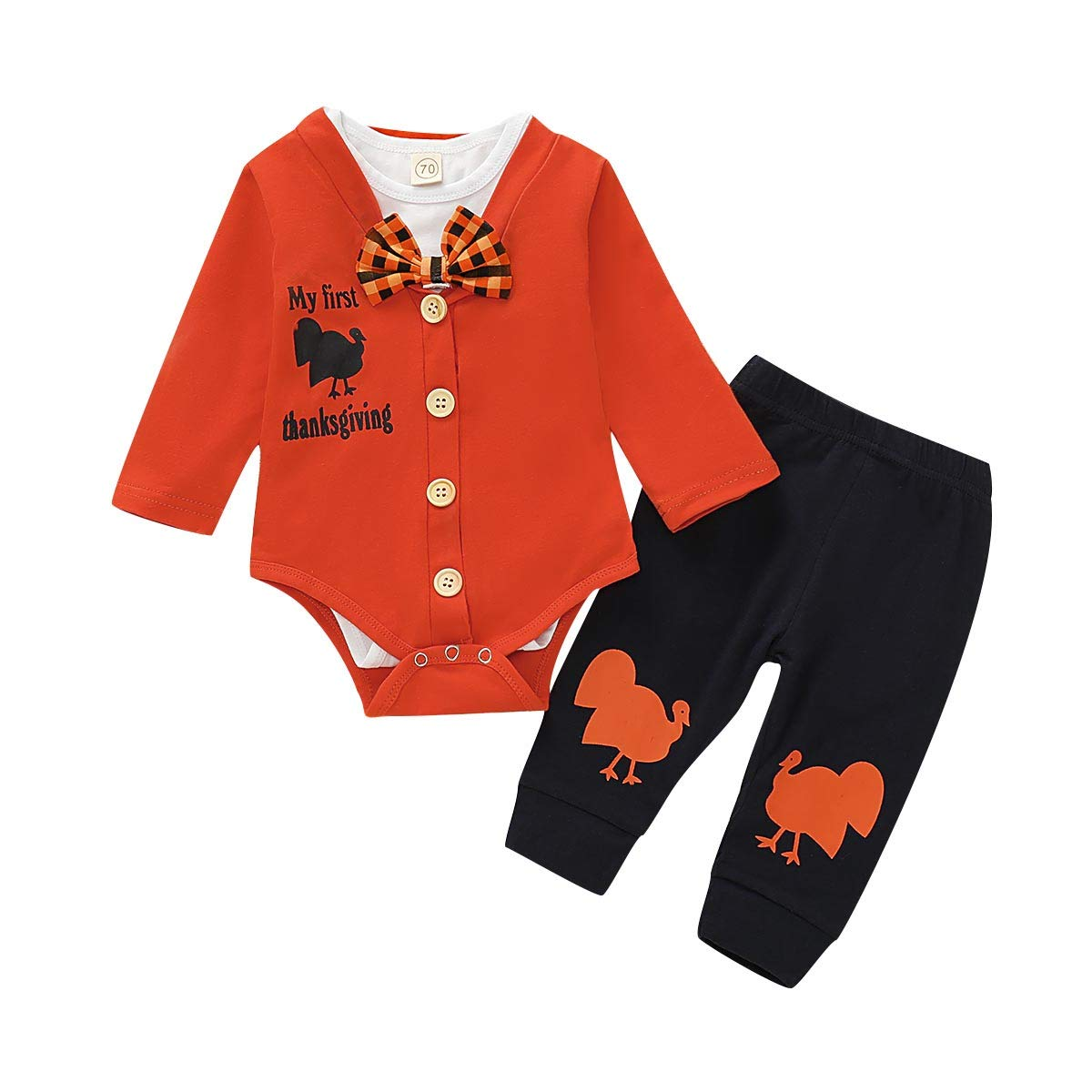 3Pcs Sets Baby Boys Thanksgiving Outfit My First Thanksgiving Bodysuit Romper Pants Clothes (Orange, 3-6 M (70))