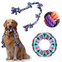 insoftb Tough Rope Chew Toys Set for Medium Large Dogs 3 Pack 100% Natural Cotton 5-Knot 2-feet Tug of War Rope Big Playing Ball Circle Toy