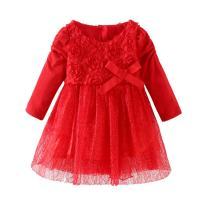 LittleSpring Baby Girls' Party Dresses Flowers Lace Wedding Dress with Bowknot