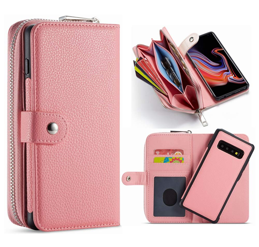 Hynice iPhone XR Detachable Wallet Case, Leather Zipper Purse for Women Magnetic Removable Silm Cover with Strap Credit Holder Cash Pocket for iPhone XR 6.1 (Lichi-Pink, iPhone XR)