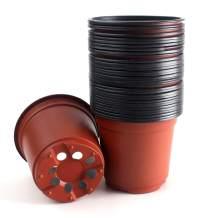 "HAZOULEN Plastic Plants Nursery Pots for Seedlings Planting Seeds Starting, 4"", 50 Pack"