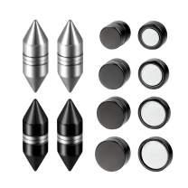 Flongo Men's Women Punk 12mm Stainless Steel Black Magnetic Non-piercing Clip Fake Cheater Stud Earrings