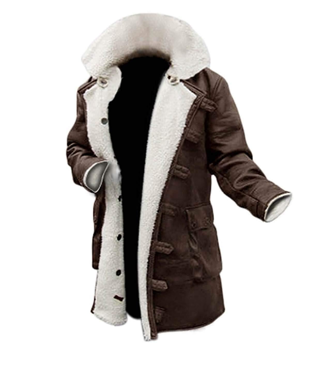 fjackets Shearling Coat Men - Brown Leather Long Jacket Men