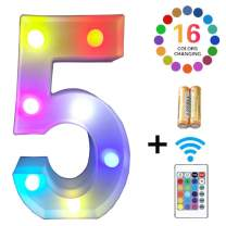 LED Marquee Letter Lights 16 Colors Changing Alphabet Sign Light Up Marquee Number Lights Battery Powered Plastic Letter for Night Home Bedroom Birthday Party Christmas Bar Decor (5)