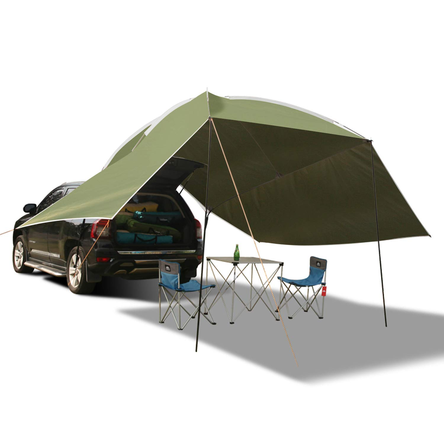 REDCAMP Waterproof Car Awning Sun Shelter, Portable Auto Canopy Camper Trailer Sun Shade for Camping, Outdoor, SUV, Beach Army Green/Grey