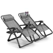 Rimdoc Zero Gravity Chair Oversized 2 Pack Folding Camping Chairs 40mm Thick Frame XL Recliners Adjustable Patio Lounge Chairs Set of 2 with Cup Tray (Gray)