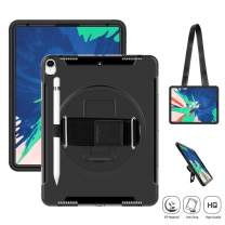 SUPFIVES iPad Pro 12.9 Case 2018/ iPad 12.9 3rd Generation Case [NOT Support Pencil Charging] Heavy Duty with Stand+Hand Strap+Shoulder Strap+Pencil Holder Shockproof Durable Business Case (Black)