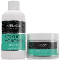 Karlash Professional Polymer Kit Acrylic Powder French White 2 oz and Acrylic Liquid Monomer 4 oz for Doing Acrylic Nails, MMA free, Ultra Shine and Strong Nails Acrylic Nail Kit