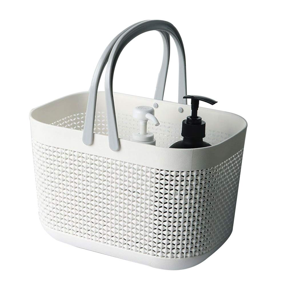 FEOOWV Plastic Bathroom Storage Basket with Handle, for Storing Bathroom Body Wash, Shampoo, Conditioner, Lotion (1)