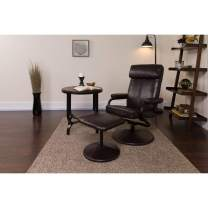 Flash Furniture Contemporary Multi-Position Headrest Recliner and Ottoman with Wrapped Base in Brown Leather