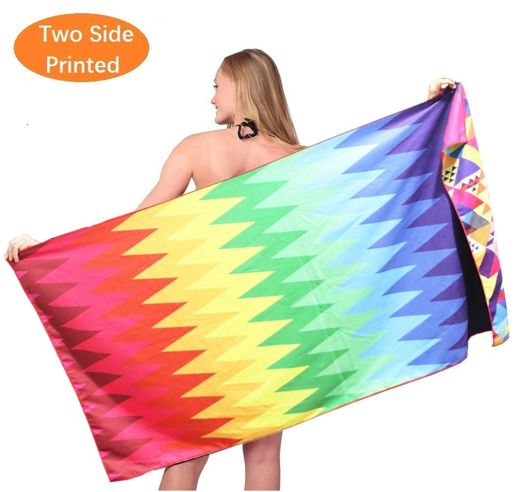 Sand Free Micro Fiber Beach Towel -Quick Dry Super Absorbent Thin Large Towels Blanket for Pool Swimming Bath Girl Adult Women Men Teen Geometric Triangle Kaleidoscope Zig Zag