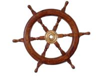 """Nautical  Deluxe Class Wood and Brass Decorative Ship Wheel 30"""" - Nautical Home Decoration Gifts"""