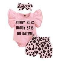 Newborn Baby Girl Clothes 3Pcs Sunflower Wild Ox Romper + Short Pants + Headband Summer Outfit Set