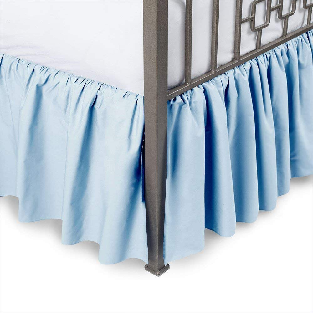 Ruffled Bed Skirt with Split Corners - Light Blue, Queen XL BedSkirt, Gathered Style Easy Fit up to 6 Inch Drop, Wrap with Platform Three Sided Coverage Dust Ruffle Bedskirts (Light Blue Queen XL)