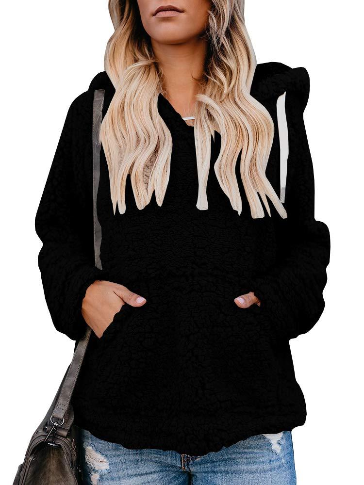 Sibylla Women's Long Sleeve Oversize Fuzzy Warm Fleece Hoodies Pullover Jacket Outwear