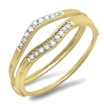 Dazzlingrock Collection 0.12 Carat (ctw) 10K Gold Round White Diamond Ladies Anniversary Enhancer Guard Wedding Band