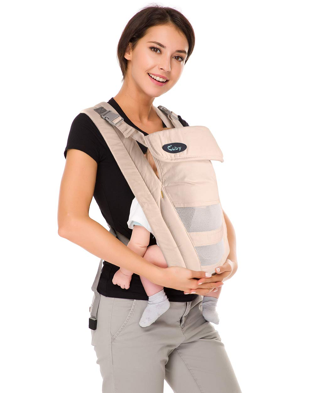 Cuby Ergonomic Baby Carrier,Classic Carrier, Soft & Breathable Baby Carriers Backpack Front and Back for Infants to Toddlers Up to 36 lbs (Apricot)