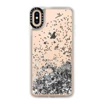 Casetify Silver Glitter iPhone Xs Max Case with Silver Floating Glitter Sparkle in Liquid Clear Back and Shockproof Drop Proof Frost Bumper and Wireless Charging Compatibility for iPhone Xs Max