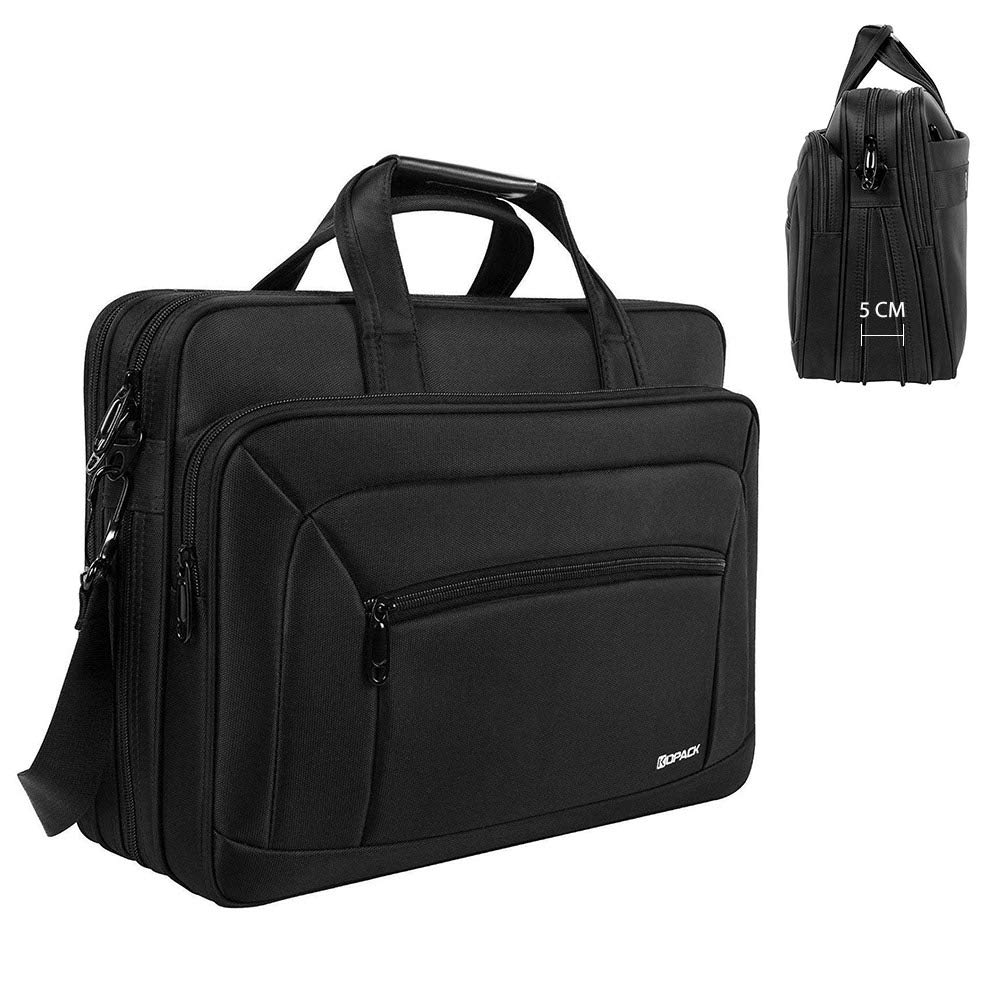 KOPACK Laptop Briefcase Expandable Large Capacity 15.6 Inch Laptop Bag Water Resistant Scratch-resistant Nylon Shoulder Computer Bag Black