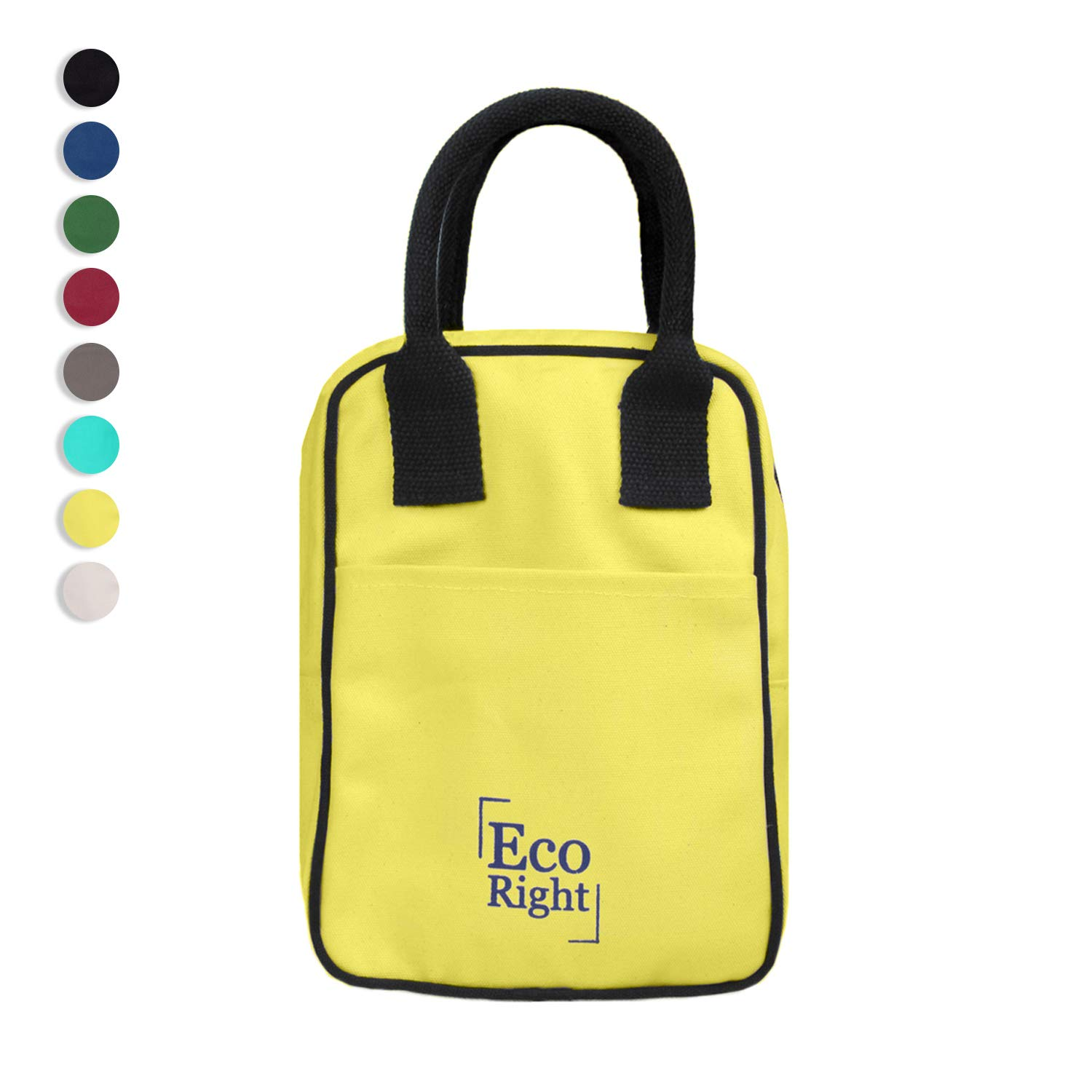 EcoRight Insulated Lunch Bag for Men, Women, Lunch Box for Kids, Adults, Eco-Friendly Leakproof Reusable Cooler Bags with Bottle Holder for Work, School, Office, Gifts for Men 8L | Yellow | 0705
