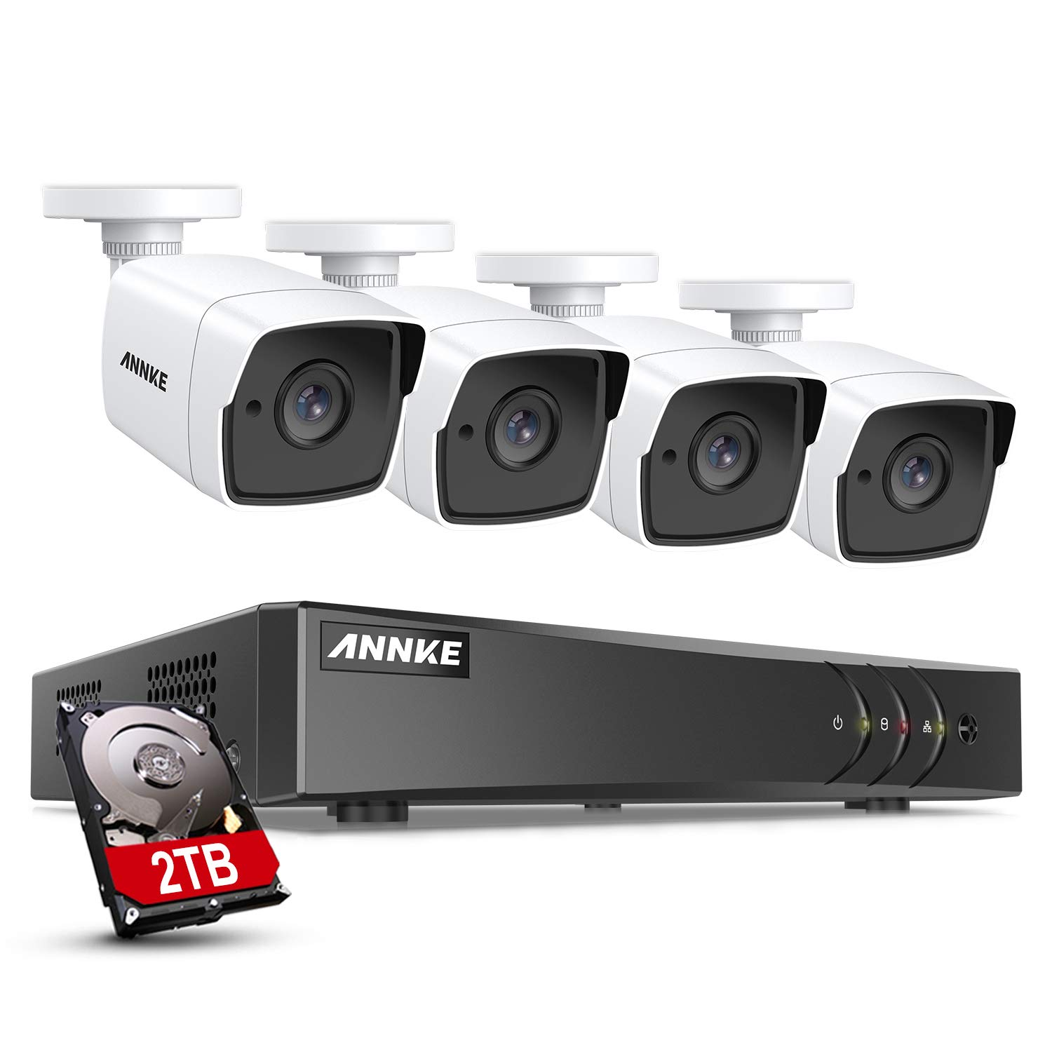 ANNKE 5MP Home Security Camera System 8 Channel H.265+ DVR Recorder with 2TB HDD, 4X 5MP (2560TVL) Wired Indoor Outdoor CCTV Cameras, 100 ft EXIR Night Vision, Motion Detection & Remote Monitoring